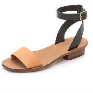 Madewell Two Tone Heel Double Strap Sandals